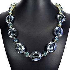 Bleu Mystique Feu Collier Cristal Artisanal Perle bijoux UK Idée Cadeau