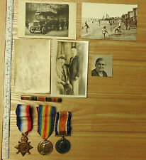 Military WW1 Mons Star Trio Medal Group With Rosette Photographs 1st Coy (3655