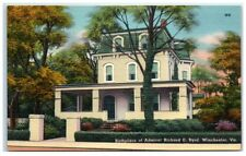 Mid-1900s Birthplace of Admiral Richard E. Byrd, Winchester, VA Postcard