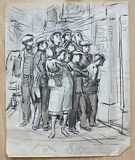 Albert Sway 1930's employment agency WPA era painting NYC artist