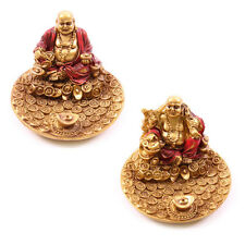 Chinese Buddha Chinese Coins Incense Holder, Ash Catcher / Set of 2 Red & Gold