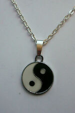 Yin Yang Black & White Enamelled Pendant Necklace