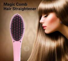 Pink Digital Anti Static Ceramic Hair Straightener Heating Detangling Hair Brush
