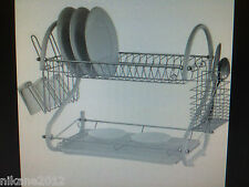 2 TWO LAYER TIER CHROME SILVER METAL DISH PLATE GLASS DRAINER DRAINING RACK