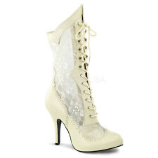 Pleaser Victorian-116X Calf High Ankle Boots Fancy Dress Up Lace Up Wide Fit New