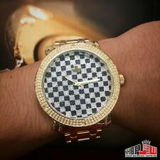 Mens Genuine Diamond Maxx Yellow Gold Tone Watch Hip Hop Big Face Checkered Dial