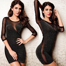 Sexy Dekollete Glitter Minikleid Abendkleid Party Kleid Tüll Schwarz 34 36 38