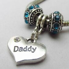 Daddy Heart Charm And Birthstone European Beads For Charm Bracelets