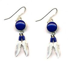 Genuine Lapis Lasuli Sterling Silver Feather Dangle Earrings Native American