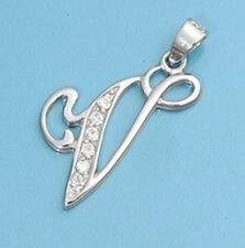 Alphabet Initial Pendant Sterling Silver 925 Cubic Zirconia Jewelry Letter V