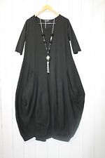 Moonshine ITALY Kleid Ballonkleid  44 46 48 Schwarz Lagenlook Taschen Stretch