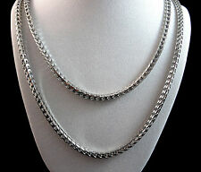 NEW WHITE GOLD FINISH MENS WOMENS HIGH QUALITY 36 INCH FRANCO NECKLESS CHAIN 4MM