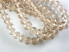200Ps Silver Champagne Glass Faceted Rondelle Beads Spacer Craft Finding 3mm