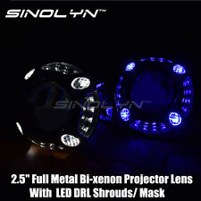 2.5'' Upgrade Metal HID Projector Lens H1 With LED Angel Eyes Halo DRL Shrouds