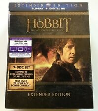 NEW SEALED THE HOBBIT TRILOGY BLU RAY EXTENDED EDITION 9 DISC SET + DIGITAL HD