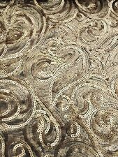 """Gold Sequinned Mesh Fabric - Bling - Dress Making - By Yard - 60""""/150cm Wide"""