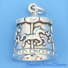 HORSE CAROUSEL MERRY-GO-ROUND 3D .925 Sterling Silver Charm