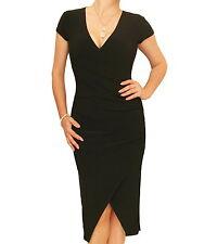 New Short Sleeved Ruched Mock Wrap Dress - V Neck
