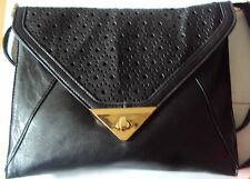 LADIES ENVELOPE CLUTCH BAG LASER CUT DETAIL WITH GOLD CLASP W/SHOULDER STRAP