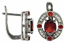 NEW!! Rhodium Plated Oval Garnet Outlined with CZ and Garnet Leverback Earring