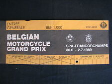 Ticket Belgian Mororcycle Grand Prix Spa-Francorchamps 30.6 - 2.7 1989  (TTC)