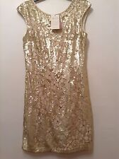 "BNWT "" Monsoon "" Size 12 Gold Fully Beads & Sequin dress. Gatsby 20s style. New"