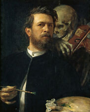 Self-Portrait with Death Playing the Fiddle Arnold Böcklin Tod Geige B A3 00673