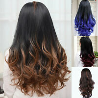 Womens Black Brown Ombre Long Curly Wavy Hair 3/4 Half Wigs Cosplay Daily Wear