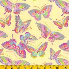Glitter Butterfly  Cotton Flannel Fabric  Candy Yellow Fabric Traditions  Bfab