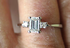 EMERALD cut DIAMOND with 2 small side dia Platinum Engagement Ring G VS1 0.40 ct
