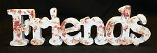 """*SALE* HOME DECOR WOODEN WORD """"FRIENDS"""" SIGN PLAQUE WHITE AND FLORAL PATTERN!"""