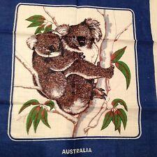 Koala Bear Australia 100% Linen Kitchen Tea Towel,Framable,Blue,Hand Printed