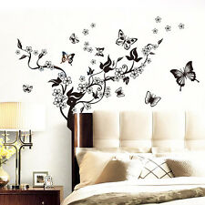 New Home Decor Mural Decal Beautiful Vinyl Butterfly Flowers Tree Wall Sticker