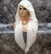 "38"" Long Layered White Full Lace Front Wig Heat Ok Hair Piece NWT"