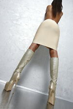 1969 ITALY LEDER Gold Fashion Hohe Plateau High Heels Boots D48 Schuhe Leather