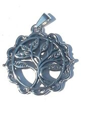 Stainless Steel Tree of Live pendant on 18 Inch Steel Ball Chain