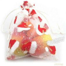 20x Christmas Hat Pattern Ribbon Organza Pouch Gift Bag 13x18cm Fit Gifts Lots D