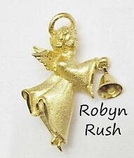 Christmas Angel Pin/Brooch w/Dangle Bell, Signed RR ROBYN RUSH Textured Goldtone