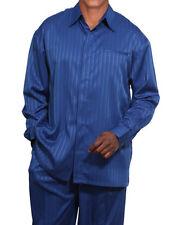 Men's 2pc Walking Suit Long Sleeve Casual Shirt & Pants Set 2752 Size M-5XL