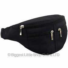 NEW Black Waist Bum Bag Travel 4 zips MICROFIBRE Unisex Fanny Pack Mens Ladies