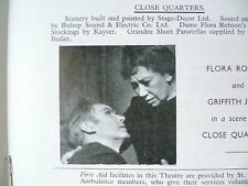 Theatre programme- Close Quarters- Flora Robson,G Jones,W C Somin,18/3/1963