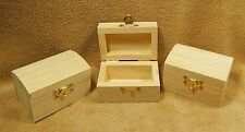 Unfinished Wood Wooden Hinged Chest Boxes Wedding Party Favors Lot 3