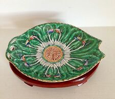 Lovely Qing Antique Chinese Export Porcelain Leaf Tray ~Cabbage Leaf ~Marked