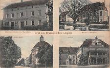 Prausnitz Bez. Liegnitz Schlesien Bäckerei , Kirche, Schloß Postkarte