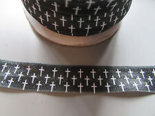 Cross black & white Fold Over Elastic Ribbon 1.6cm x 1 Metre Sewing/Crafts/Cake