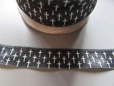Cruz Negro Y Blanco Pliegue sobre cinta elástica 1.6cm X 1 Metro Costura/Artesanía/pastel