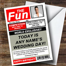 Funny Joke Spoof Newspaper Personalised Wedding Day Greetings Card