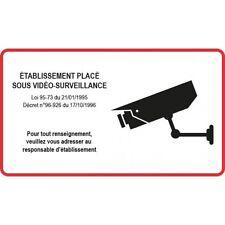 Autocollant sticker Etablissement sous vidéo surveillance 8 cm