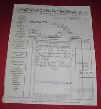 rechnung alt antik adolf schell & otto vittali offenburg baden  1925 papier
