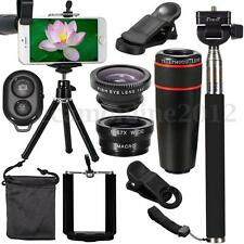 Phone Lens Kit 8X + Fish Eye + Wide Angle Macro + Selfie Stick + Tripod + Holder